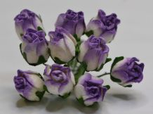 15mm LILAC WHITE HIP ROSE BUDS (L) Mulberry Paper Flowers